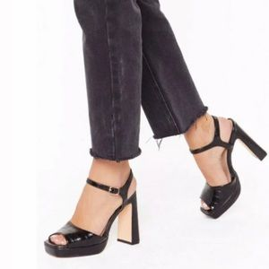 [Nasty Gal] NWT Black Faux Leather Platform Heels